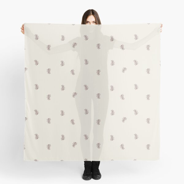 Brown and Cream Floral Leaf Pattern Scarf