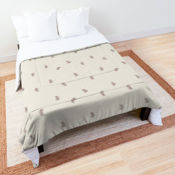 Brown and Cream Floral Leaf Pattern Comforter