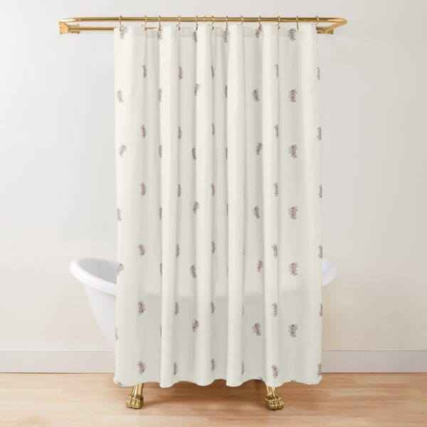 Brown and Cream Floral Leaf Pattern Shower Curtain