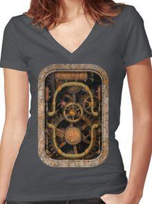 Infernal Steampunk Vintage Machine #1 Women's Fitted V-Neck T-Shirt