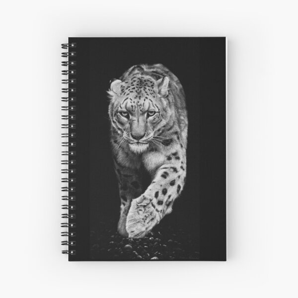 Snow Leopard Black and White Artwork Spiral Notebook