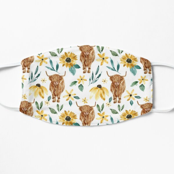 Highland Cow and Sunflowers, Wildflowers, Cow Art, Yellow Floral Flat Mask