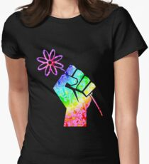 Rainbow Fist of Solidarity Holding Flower .  T-Shirt