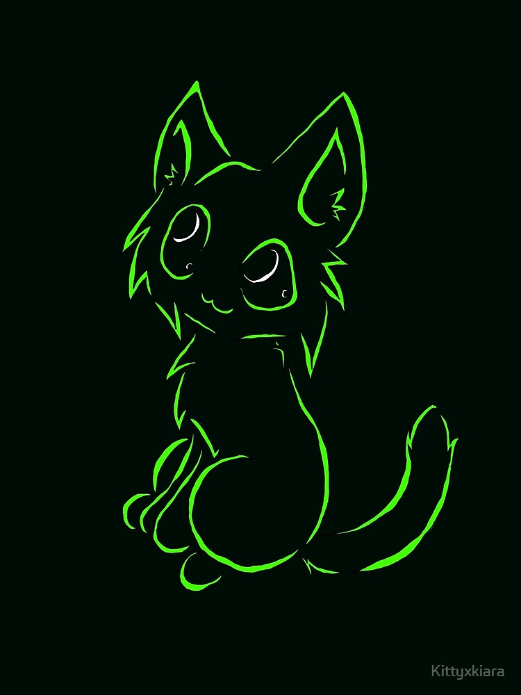 Tribal like cat-Neon Green by Kittyxkiara
