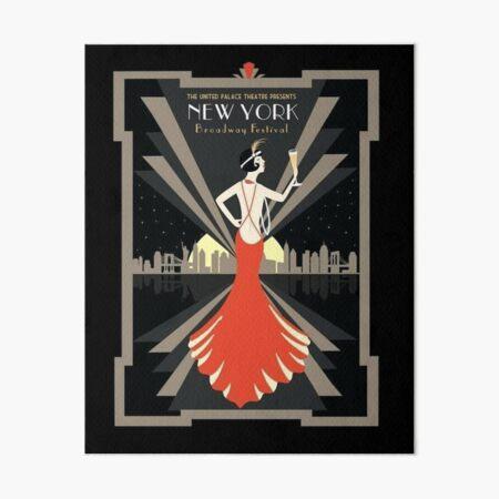 Vintage 1920s Broadway Art Deco Art Board Print