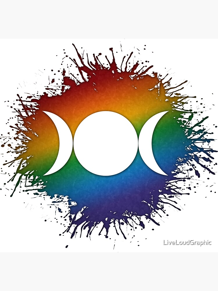 Rainbow Triple Goddess Moon by LiveLoudGraphic
