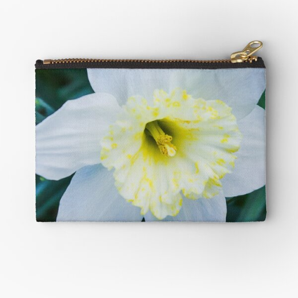 White Flower  Zipper Pouch