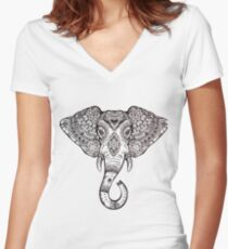Vintage ornate ethnic elephant with tribal ornaments. Women's Fitted V-Neck T-Shirt