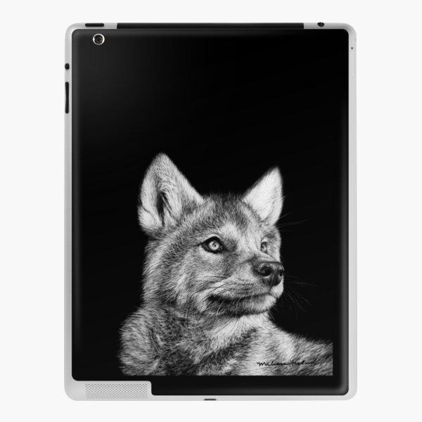 Wolf Pup Black and White Art iPad Skin