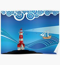 Lighthouse and Boat in the Sea 5 Poster