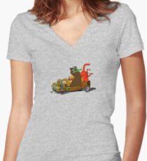 Lazy Luke and Blubber Bear Women's Fitted V-Neck T-Shirt