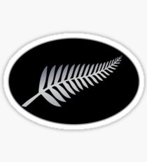 Silver Fern on a black oval background NZ Kiwi symbol Sticker