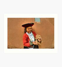 Peru, indigenous woman spinning wool with a hand spindle  Art Print
