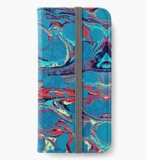 Psychedelisches blaues Rot marmoriertes Papier iPhone Flip-Case/Hülle/Klebefolie