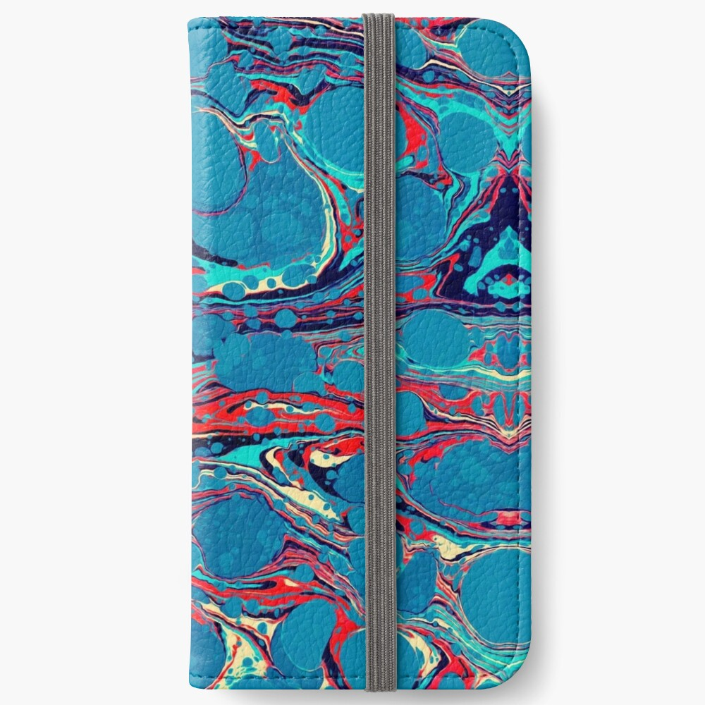 Psychedelic Blue Red Marbled Paper Fundas tarjetero para iPhone