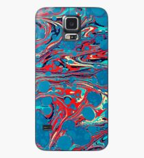 Psychedelic Blue Red Marbled Paper Case/Skin for Samsung Galaxy