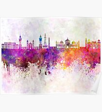 Lahore skyline in watercolor background Poster