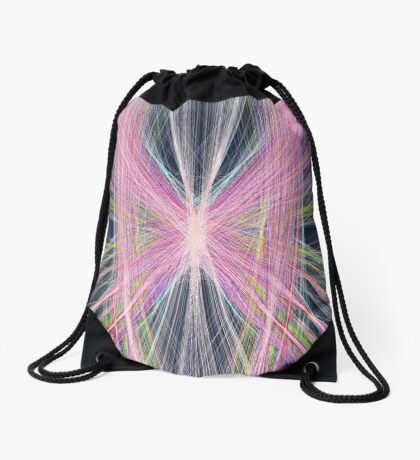 Linify Pink butterfly on dark background Drawstring Bag