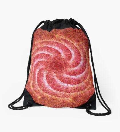 Optical lines — Red Drawstring Bag