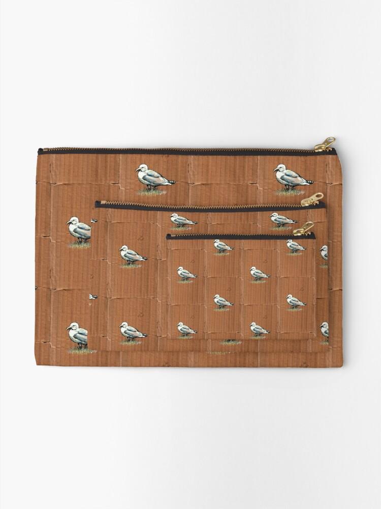 Alternate view of Gulls on Grass, #4 Zipper Pouch