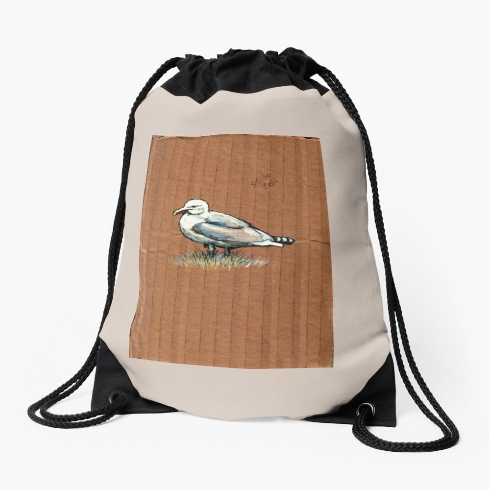 Gulls on Grass, #4 Drawstring Bag