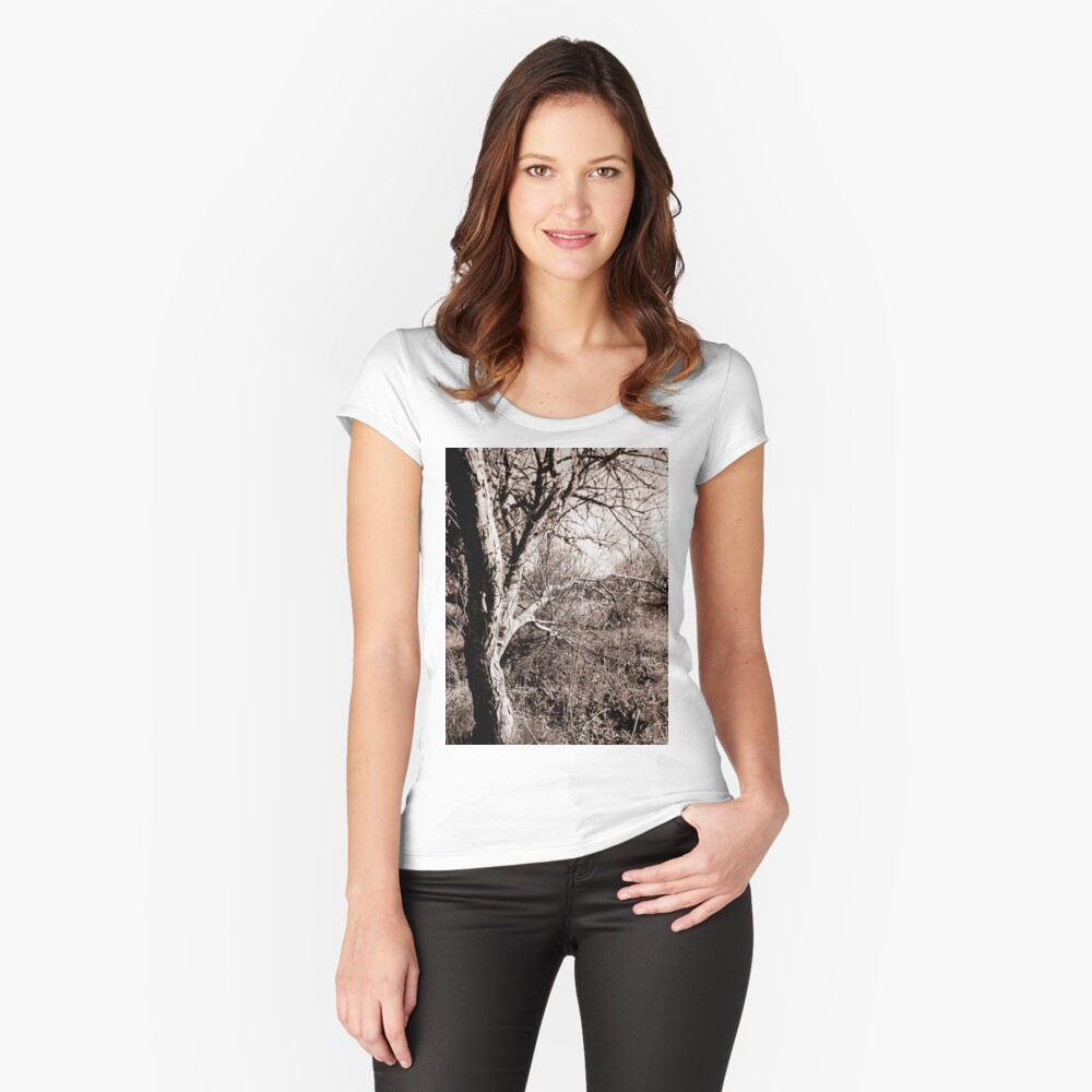 Old tree by the lake  Women's Fitted Scoop T-Shirt Front