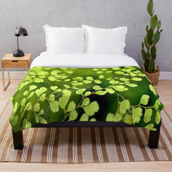 Cool green petite leaves Throw Blanket