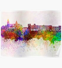 Salamanca skyline in watercolor background Poster