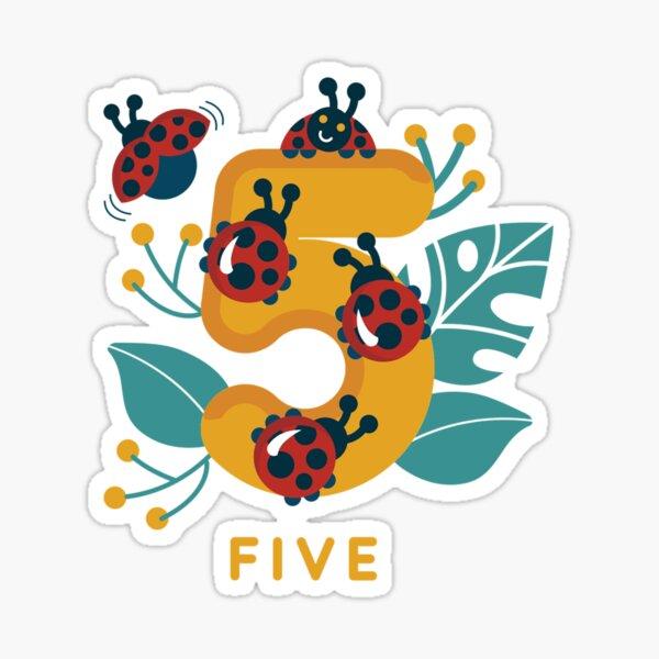five ladybugs  Sticker