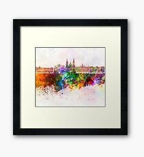 Santiago de Compostela skyline in watercolor background Framed Print