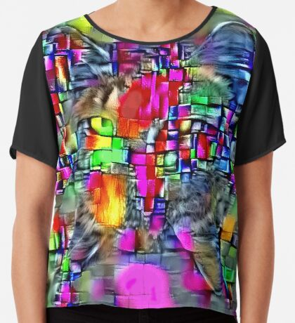 Artificial neural style Cubism mirror cat Chiffon Top