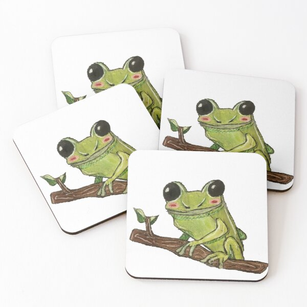 Cottage core frog Coasters (Set of 4)