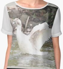 White Female Duck Chiffon Top