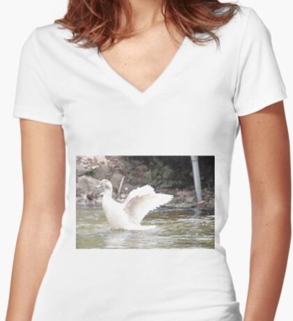 White Female Duck Women's Fitted V-Neck T-Shirt