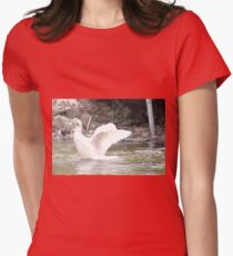 White Female Duck Women's Fitted T-Shirt