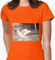 White Female Duck Womens Fitted T-Shirt