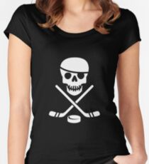Cool Ice Hockey Pirate Logo - White on Black Women's Fitted Scoop T-Shirt