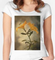 Yellow Lily on stem Women's Fitted Scoop T-Shirt