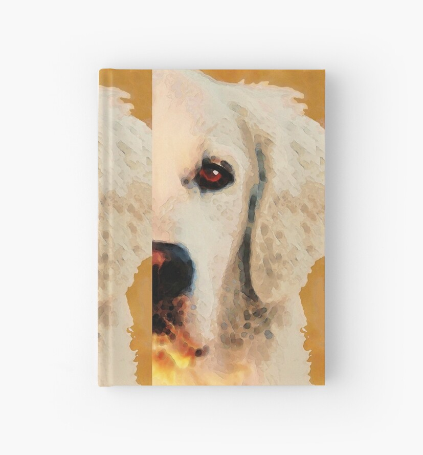 Golden Retriever Half Face By Sharon Cummings Hardcover Journals By