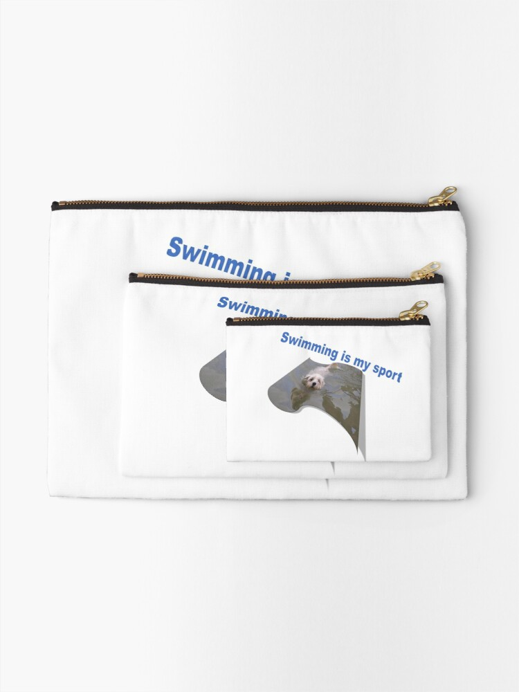 Alternate view of Swimming is my sport Dog Zipper Pouch