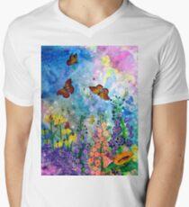 Schmetterlingsgarten (Rechteck) T-Shirt mit V-Ausschnitt