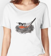 Robin Redbreast in Her Nest Illustration Relaxed Fit T-Shirt