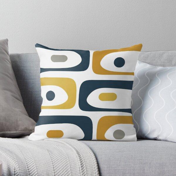 Mid Century Modern Piquet Abstract Minimalist Pattern in Navy Blue, Light and Dark Mustard, Grey, and White Throw Pillow