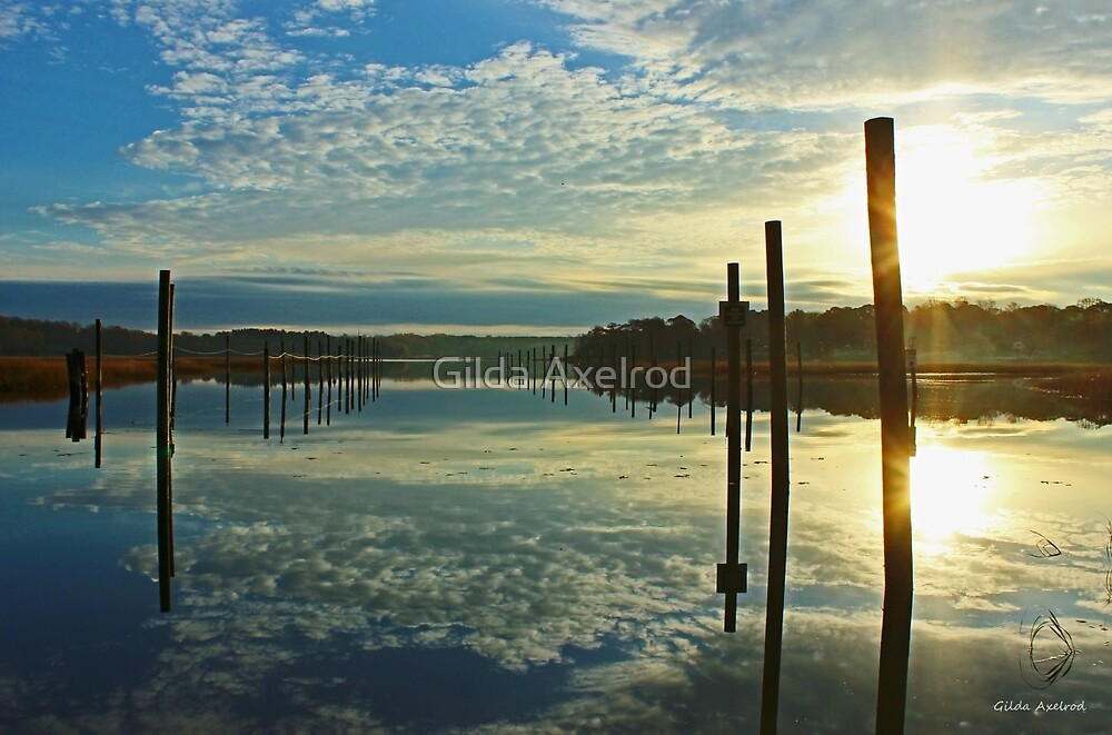 Sunday Sunrise at the Nissequogue  by Gilda Axelrod