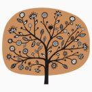 Stylized Flower Tree - Light Orange by Artberry