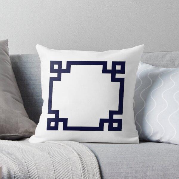 Navy Blue Greek Key Square On White Throw Pillow