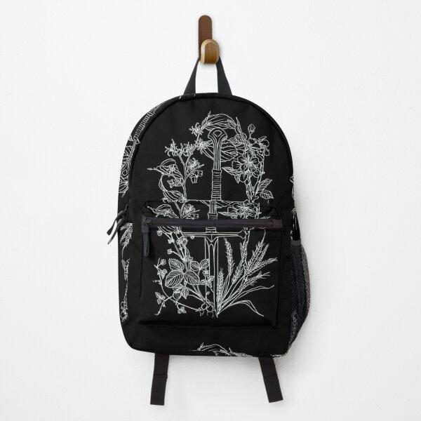 Floral Fantasy Sword White Backpack