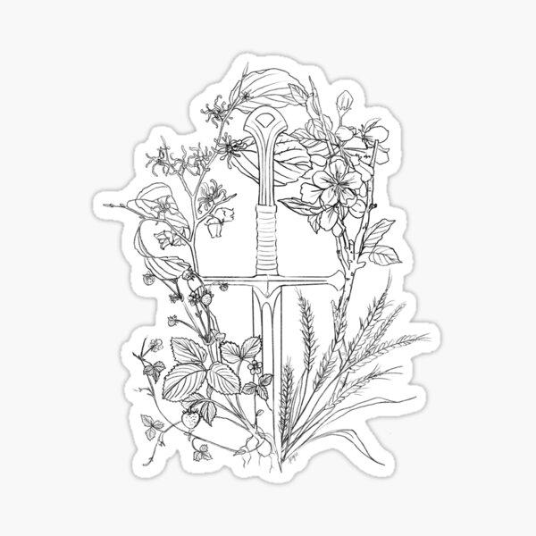 Floral Fantasy Sword Black Sticker