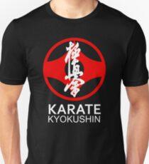 Kyokushin Karate Symbol and Kanji White Text T-Shirt