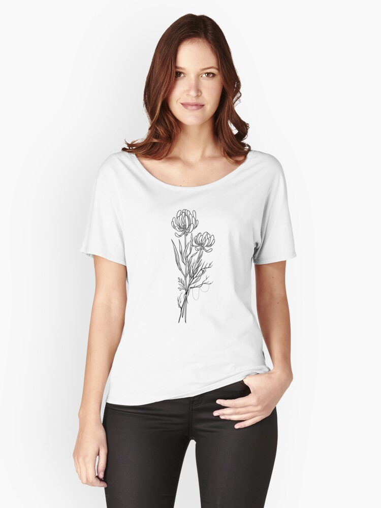 Flowers Lineart Tattoo Style // Black and White Women's Relaxed Fit T-Shirt Front